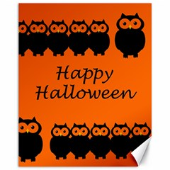 Happy Halloween   Owls Canvas 11  X 14
