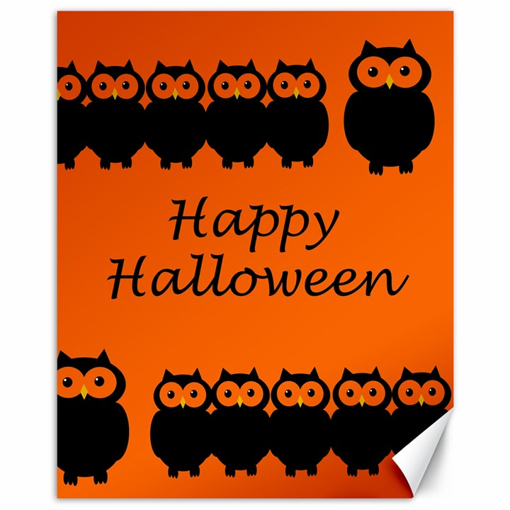 Happy Halloween - owls Canvas 11  x 14