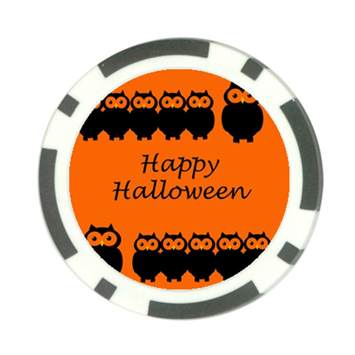 Happy Halloween - owls Poker Chip Card Guards
