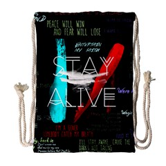 Twenty One Pilots Stay Alive Song Lyrics Quotes Drawstring Bag (large)