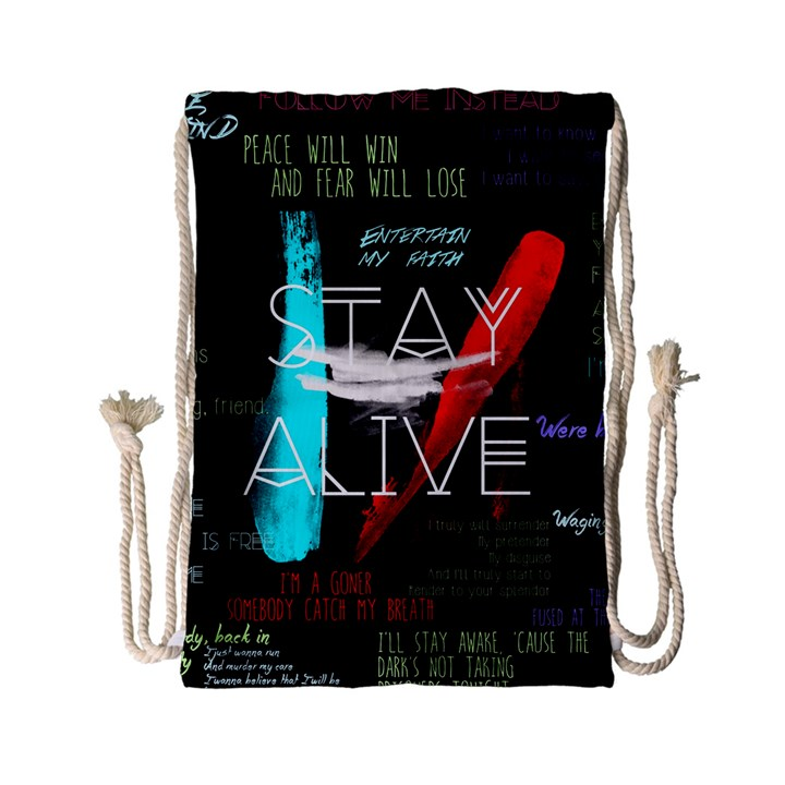 Twenty One Pilots Stay Alive Song Lyrics Quotes Drawstring Bag (Small)