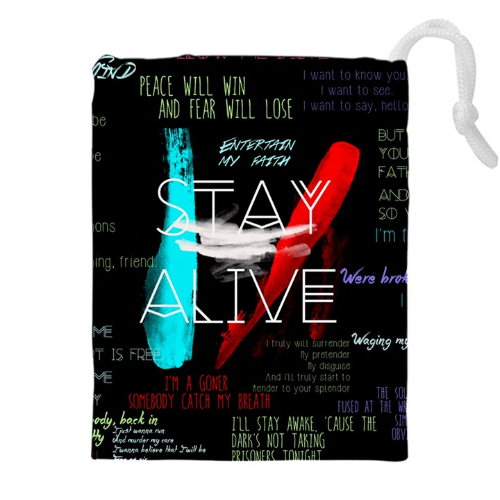 Twenty One Pilots Stay Alive Song Lyrics Quotes Drawstring Pouches (XXL)