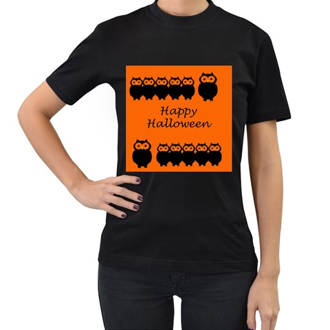 Happy Halloween - owls Women s T-Shirt (Black)