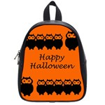 Happy Halloween - owls School Bags (Small)  Front