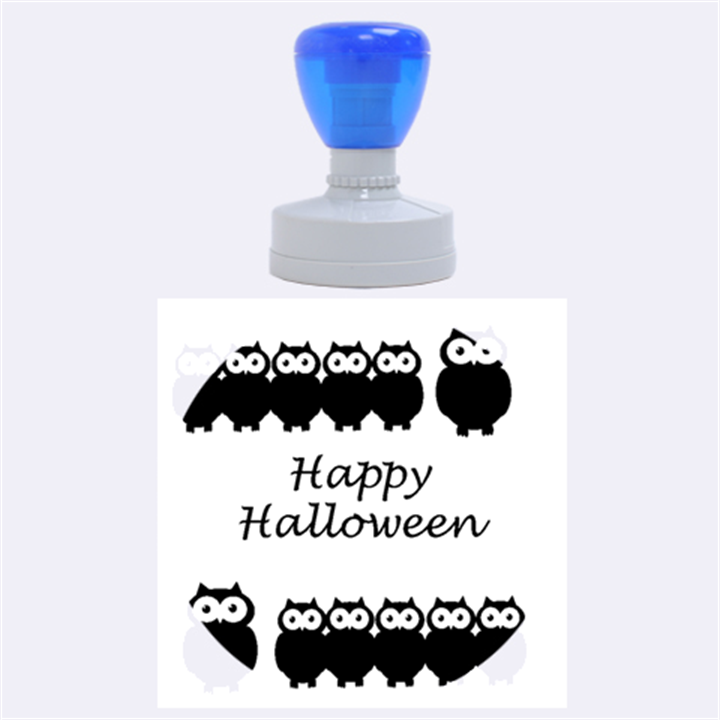 Happy Halloween - owls Rubber Round Stamps (Large)