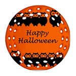 Happy Halloween - owls Round Filigree Ornament (2Side) Front