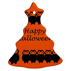 Happy Halloween   Owls Christmas Tree Ornament (2 Sides)