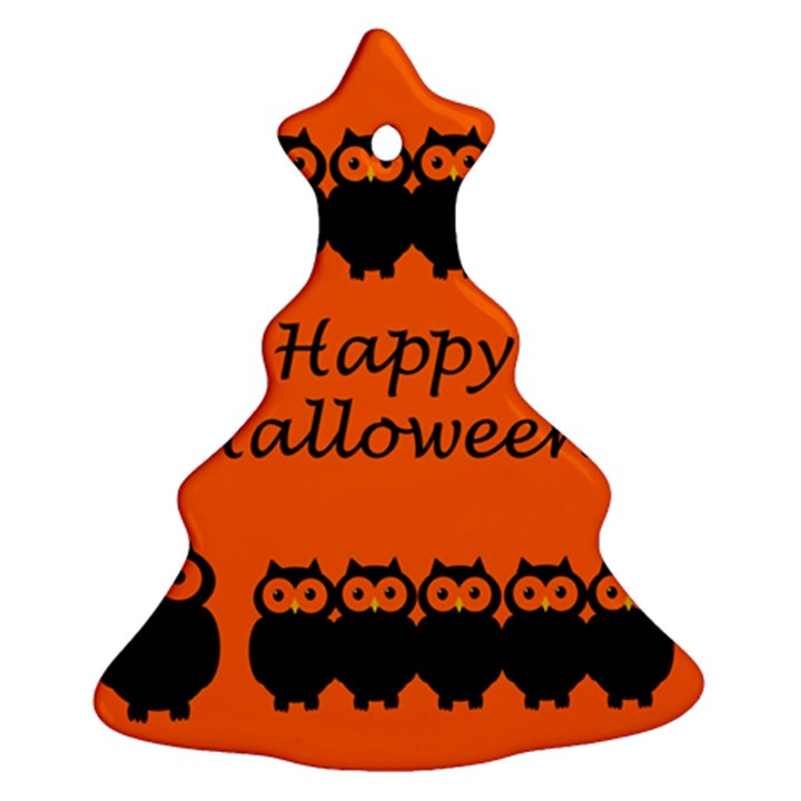 Happy Halloween - owls Christmas Tree Ornament (2 Sides)