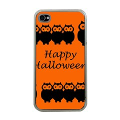 Happy Halloween   Owls Apple Iphone 4 Case (clear)