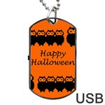 Happy Halloween - owls Dog Tag USB Flash (One Side) Front