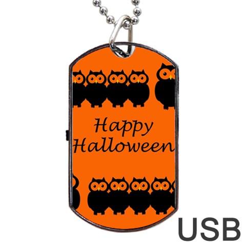 Happy Halloween - owls Dog Tag USB Flash (Two Sides)