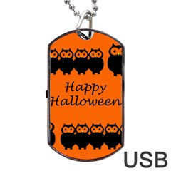 Happy Halloween - owls Dog Tag USB Flash (Two Sides)