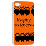 Happy Halloween - owls Apple iPhone 4/4s Seamless Case (White) Front