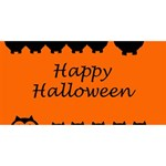 Happy Halloween - owls Twin Heart Bottom 3D Greeting Card (8x4) Back
