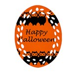 Happy Halloween - owls Ornament (Oval Filigree)  Front