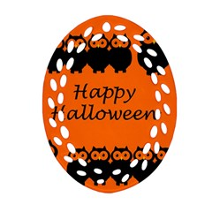 Happy Halloween - owls Oval Filigree Ornament (2-Side)