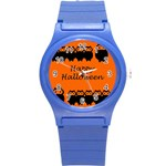 Happy Halloween - owls Round Plastic Sport Watch (S) Front