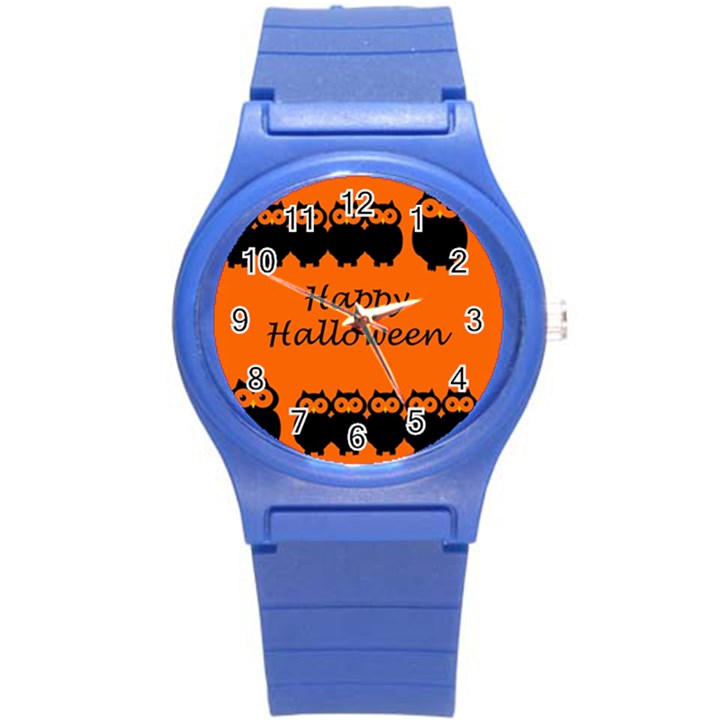 Happy Halloween - owls Round Plastic Sport Watch (S)