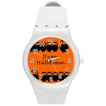 Happy Halloween - owls Round Plastic Sport Watch (M) Front