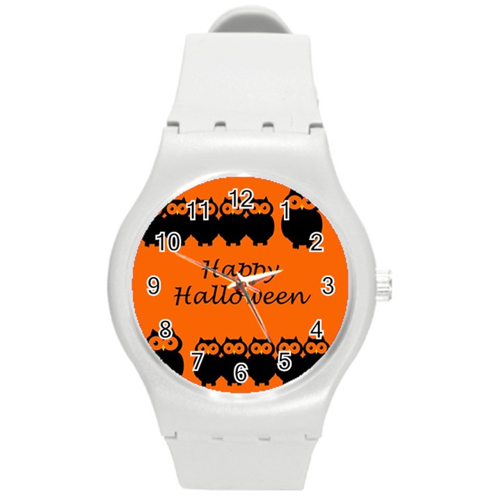 Happy Halloween - owls Round Plastic Sport Watch (M)