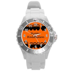 Happy Halloween - owls Round Plastic Sport Watch (L)
