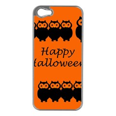 Happy Halloween   Owls Apple Iphone 5 Case (silver)