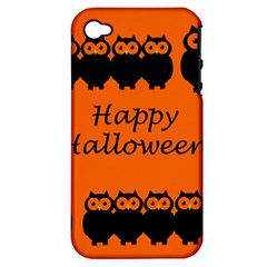 Happy Halloween - owls Apple iPhone 4/4S Hardshell Case (PC+Silicone)