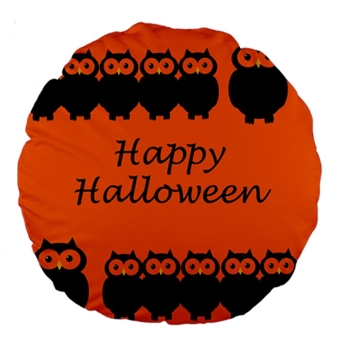 Happy Halloween - owls Large 18  Premium Round Cushions