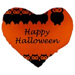 Happy Halloween - owls Large 19  Premium Heart Shape Cushions Front