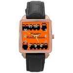 Happy Halloween - owls Rose Gold Leather Watch  Front