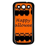Happy Halloween - owls Samsung Galaxy S3 Back Case (Black) Front