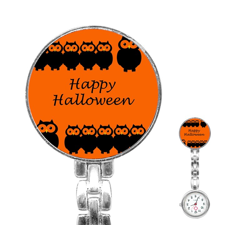 Happy Halloween - owls Stainless Steel Nurses Watch