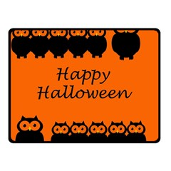 Happy Halloween   Owls Double Sided Fleece Blanket (small)