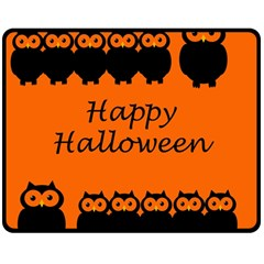 Happy Halloween - owls Double Sided Fleece Blanket (Medium)