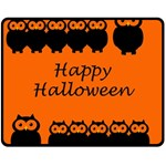 Happy Halloween - owls Double Sided Fleece Blanket (Medium)  60 x50 Blanket Front