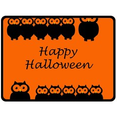 Happy Halloween   Owls Double Sided Fleece Blanket (large)