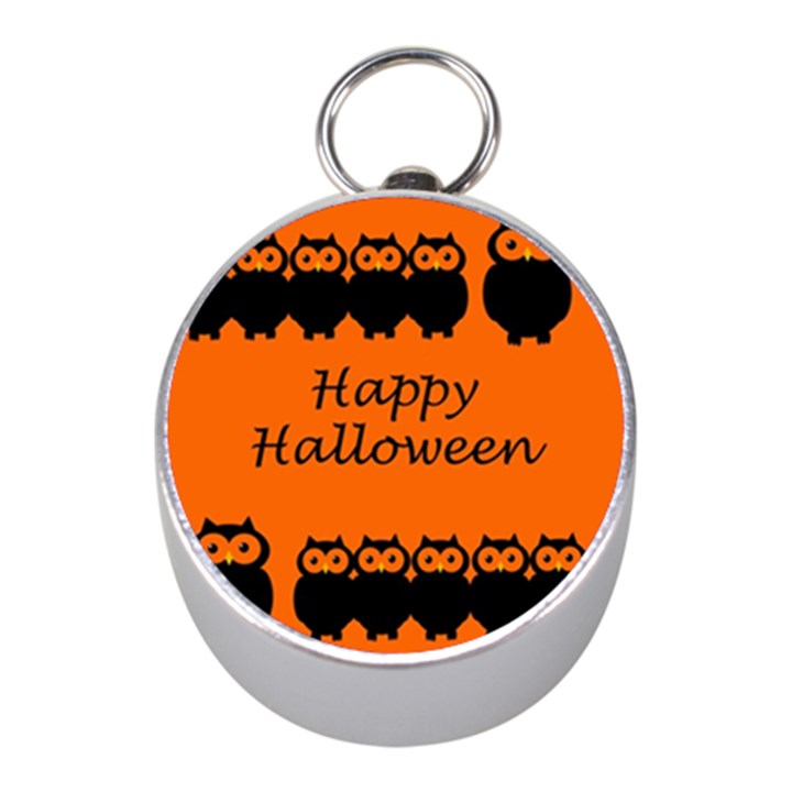 Happy Halloween - owls Mini Silver Compasses