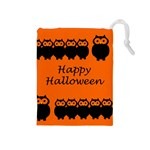 Happy Halloween - owls Drawstring Pouches (Medium)  Front