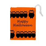 Happy Halloween - owls Drawstring Pouches (Large)  Front
