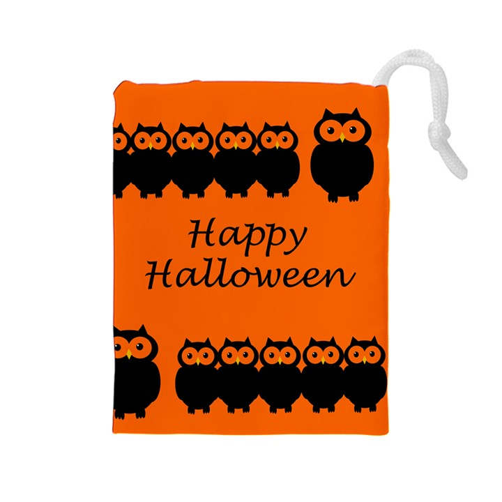 Happy Halloween - owls Drawstring Pouches (Large)