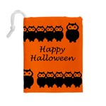Happy Halloween - owls Drawstring Pouches (Large)  Back