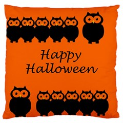 Happy Halloween   Owls Large Flano Cushion Case (one Side)