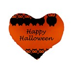 Happy Halloween - owls Standard 16  Premium Flano Heart Shape Cushions Front
