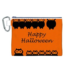 Happy Halloween   Owls Canvas Cosmetic Bag (l)