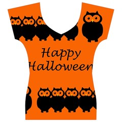 Happy Halloween - owls Women s V-Neck Cap Sleeve Top