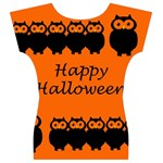 Happy Halloween - owls Women s V-Neck Cap Sleeve Top Back