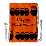 Happy Halloween - owls Drawstring Bag (Large) Front