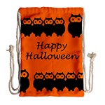 Happy Halloween - owls Drawstring Bag (Large) Back