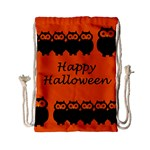 Happy Halloween - owls Drawstring Bag (Small) Back