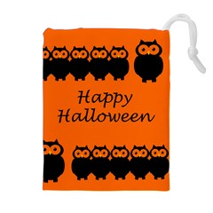 Happy Halloween - owls Drawstring Pouches (Extra Large)